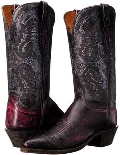 Lucchese (Black Cherry/Anthracite) Women's Boots Cowboy Boots Women, Western Boots, Western Style, Womens Fashion For Work, Fashion Fall, On Shoes, Footwear Shoes, Dress With Boots, Leather Boots
