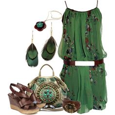 """""""Hippie Garden"""" - love the dress! love the bag! love earrings, necklace, bracelet, shoes! ^)  (by quietdaydreamer on Polyvore)"""