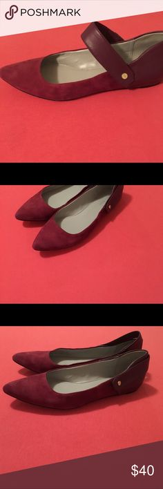 Calvin Klein Purple Plum Pointed Toe Flats Size 8.5. Strap across with stretch and versatility to use in front of or in back of heel. Made in China. Made with Suede/Leather. Calvin Klein Shoes Flats & Loafers