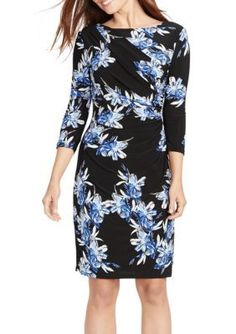 American Living  BlackBlue Floral Jersey Dress
