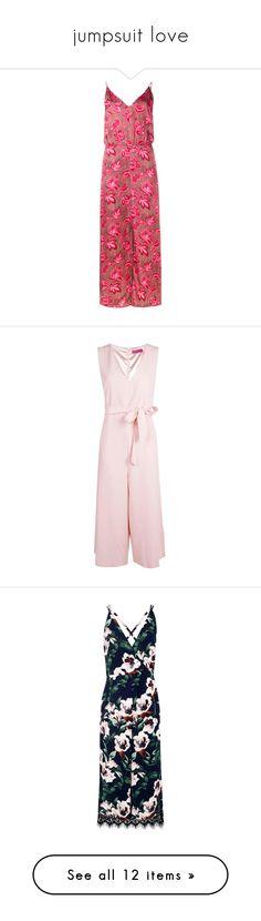 """jumpsuit love"" by mrunalini-hazari ❤ liked on Polyvore featuring dresses, zimmermann dresses, pink cami, cami dress, ruched dress, paisley dress, jumpsuits, cocktail party jumpsuit, tie belt and self tie belt"