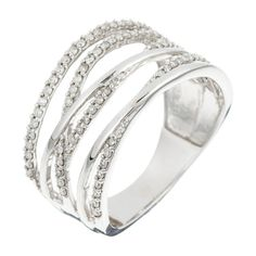 White Gold Criss Cross Ring with Diamonds (0.33 ct) (DIAMANTA2 1058965)
