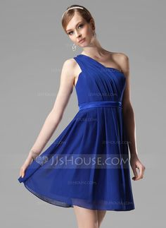 A-Line/Princess One-Shoulder Short/Mini Chiffon Charmeuse Bridesmaid Dress With Ruffle (007000777) - JJsHouse