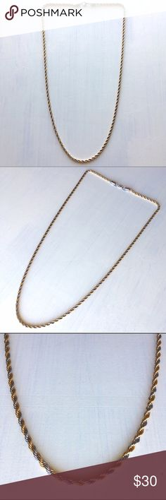 """Gold Silver Stainless Steel Rope Chain Necklace Two-Tone Gold Silver Stainless Steel Rope Chain Necklace. Almost 30 1/2"""" long. Lobster claw clasp. In good condition. Accessories Jewelry"""