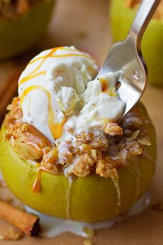 Everything you love about apple crisp but baked inside an apple. This fun fall dessert is something everyone will love!