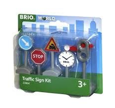 Brio-On your way to work? Just put the soft plastic traffic signs along the road and go. And while you& at it, don& forget to use the semaphore and shift from red to green so that the train can pass.