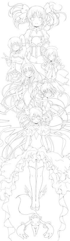 Lineart: Puella Magi Madoka Magica by Rurutia8.deviantart.com on @deviantART