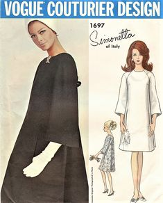 Stunning Mod SIMONETTA of Italy VOGUE Couturier Design Pattern 1697 A Line Dress has Wrapped Back forming V Neckline, Bow Trim Bust 32 Vintage Sewing Pattern