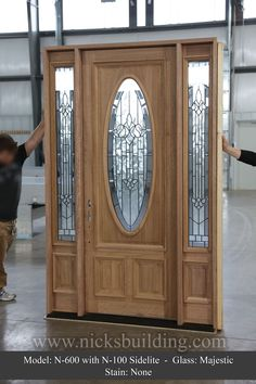 8 foot tall single door with two sidelites. 3 point locking system on door. Oval Glass on door Entrance Doors, Garage Doors, Garage Door Decorative Hardware, Single Doors, Exterior Doors, Home Projects, Glass, Home Decor, Doors