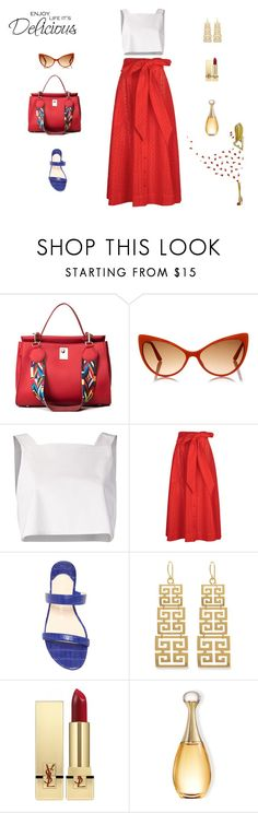 """Delicious"" by mariagraziatrotta ❤ liked on Polyvore featuring Tom Ford, Rosie Assoulin, Lisa Marie Fernandez, Nancy Gonzalez, Evie & Emma, Yves Saint Laurent and WALL"