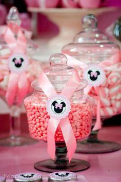 frascos con golosinas fiesta minnie mouse