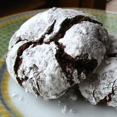 Desserts, Chocolate Crinkles Ii, Chocolate Cookies Coated In Confectioners' Sugar. Cookie Desserts, Just Desserts, Cookie Recipes, Delicious Desserts, Dessert Recipes, Icing Recipes, Chocolate Crinkle Cookies, Chocolate Crinkles, Holiday Baking