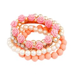 Mix Flower Beads Stretch Bracelet Temperament