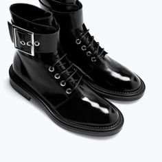 Zara boots lacquered black lace-up buckle