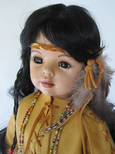 20 inch Native American Indian Porcelain Doll. $185.00, via Etsy.