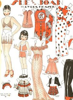 Sue and Joan Paper Dolls by Lydia Fraser, published in the Canadian Home Journal, March, 1936.