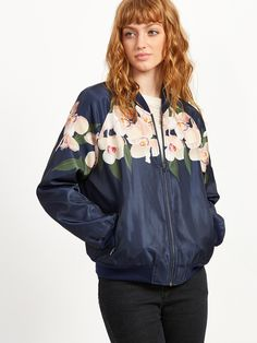¡Cómpralo ya!. Flower Print Ribbed Trim Bomber Jacket. Navy Polyester Casual Stand Collar Short Zipper Spring Fall Floral Fabric has no stretch Jackets. , chaquetabomber, bómber, bombers, bomberjacke, chamarrabomber, vestebomber, giubbottobombber, bomber. Chaqueta bomber  de mujer color azul marino de SheIn.