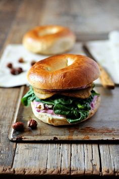 Vegan Sandwich with Raspberry Miso Spread (MoFo Tofu). Vegan Turkey, Bagel Sandwich, Sandwich Spread, Food Porn, Cuisine Diverse, Best Breakfast, Breakfast Bagel, Breakfast Ideas, Vegan Vegetarian