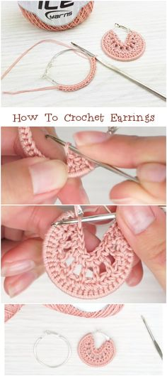 How To Crochet Earrings Free Tutorial Learn the fact (generic term) of how to needlework (generic te Diy Earrings Crochet, Crochet Jewelry Patterns, Crochet Accessories, Diy Crochet, Knitting Patterns, Hand Crochet, Tutorial Crochet, Crochet Bookmarks, Earring Tutorial