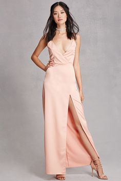 A satin maxi cami dress by Girl In Mind™ featuring a surplice front,  adjustable