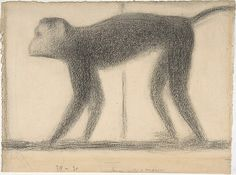 Seurat imparted a timeless, idealized appearance to this monkey by showing the animal in strict profile, with minimal detail, and independent of a setting. He defined the essential aspects of the monkey in light and shade, not through line, using hatching and cross-hatching in Conté crayon and retaining the paper support as the light source