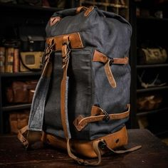 Yosemite Vintage Military Duffle Backpack Bag - Waxed Canvas & Leather - Charcoal