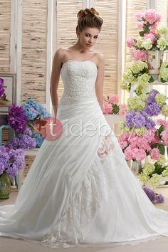Gorgeous Strapless A-Line Sleeveless Beading & Applique Chapel Daria's Wedding Dress : Tidebuy.com