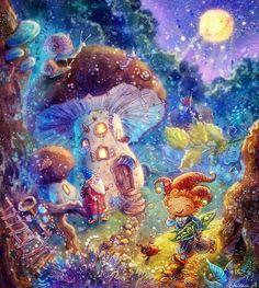 художник-иллюстратор Столбова Анастасия, гном, гриб, волшебство