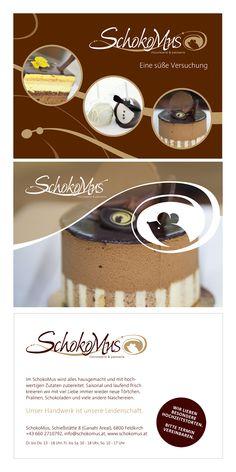 """Freelance Auftrag: Für die Chocolaterie & Patisserie """"Schokomus"""" sollten A5-Postkarten angefertigt werden. Das Design / Layout erstellte ich auf Basis des Logos (nicht von mir), die Fotos erhielt ich von der Eigentümerin. Feldkirch, Layout Design, Dog Bowls, Getting Married, Logos, Chocolate Candies, Chocolate, Home Made, Postcards"""