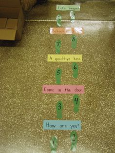 To help students with separation anxiety at the start of the year: Tape this poem and numbered footsteps down near the entrance to your classroom for the first day of school.