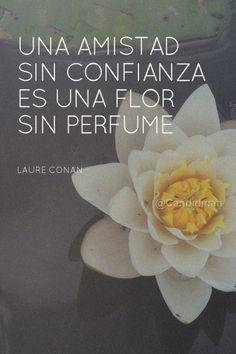 """""""Una #Amistad sin #Confianza es una #Flor sin #Perfume"""". #LaureConan #Citas #Frases @candidman"""