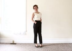 1980s flecked high waist trousers / tweed high by aLaPlageVintage, $61.00