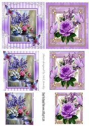 pretty flowers in a vase 2 small cards  with purple butterflies  pyramids on Craftsuprint - View Now!