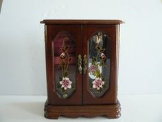 Vintage Wooden Jewelry Box/Floral/Velvet by Saltofmotherearth