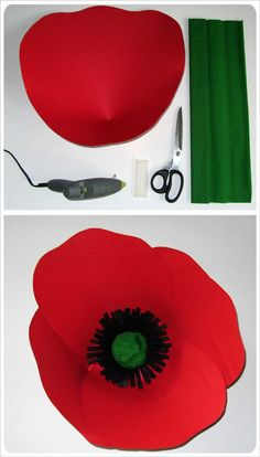 Giant paper red poppy flower - papavero fiore gigante in carta