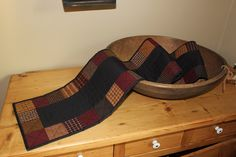 Primitive squares quilted table runner