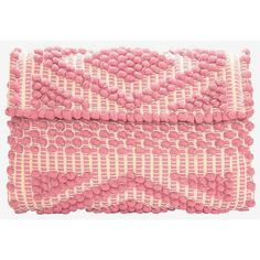 Antonello Foldover Cotton Clutch: Pink featuring polyvore, fashion, bags, handbags, clutches, pink, woven handbag, fold over purse, cotton handbags, red clutches and shoulder strap purses