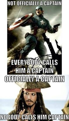 Hahaha    Poor Jack :(    Captain America and Pirates of the Carribean
