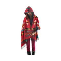 Red Aztec Print Hooded Cardigan (650 MXN) ❤ liked on Polyvore featuring tops, cardigans, red, red cardigan, red wool cardigan, red top and wool cardigan