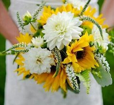 Rustic/Country/Shabby Chic Bride's Bouquet Made Up Of: White Dahlias, White Veronica, White Eremurus, Yellow Sunflowers, Green Button Mums, Green China Berry, Green Sword Fern, & Dusty Miller^^^^