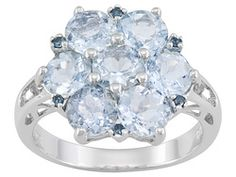 3.05ctw Round Altai Aquamarine And Round Blue Diamond Accent Sterling Silver Ring