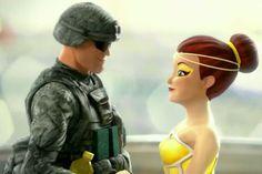Pine Sol's Lemony Fresh ballerina partners with a Powerful Clean Commando.