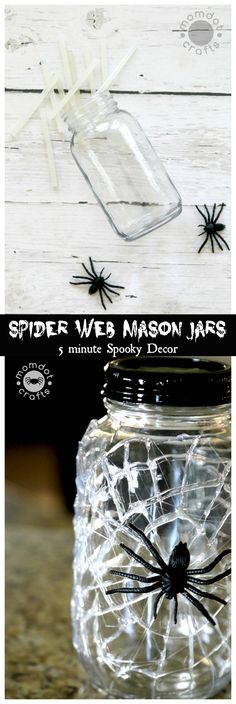 Halloween Mason Jar Craft DIY Idea: Spooky Mason Jar decor done in 5 minutes or. Diy Haloween, Halloween Crafts, Holiday Crafts, Halloween Decorations, Spider Webs Halloween, Halloween Fest, Halloween Activities, Halloween Projects, Diy Projects
