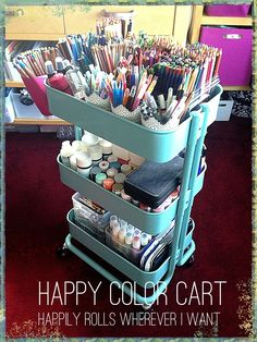 storage ideas for craft and paint supplies using an ikea raskog cart