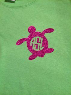 Glitter Sea Turtle Monogrammed Tshirt by KathrynGetsCrafty on Etsy, $12.00