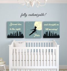 Nursery Wall Art Peter Pan Nursery décor by CustomMadeJust4You