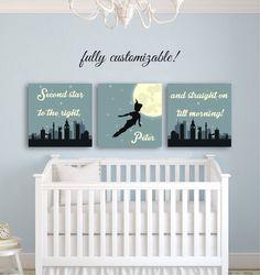 Nursery Wall Art Peter Pan Nursery décor by CustomMadeJust4You