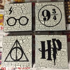 Set of 4 Harry Potter hand painted acrylic by JKHomeadeCreations