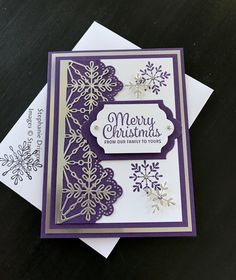Stampin up snowflake sentiments stamp set, and swirly snowflake thin let dies. Silver foil card stock and SU Elegant Eggplant card stock.