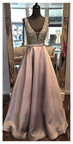 Elegant Chocolate Color Beading Bodice V Neckline Prom Dress A Line Satin Evening Dress